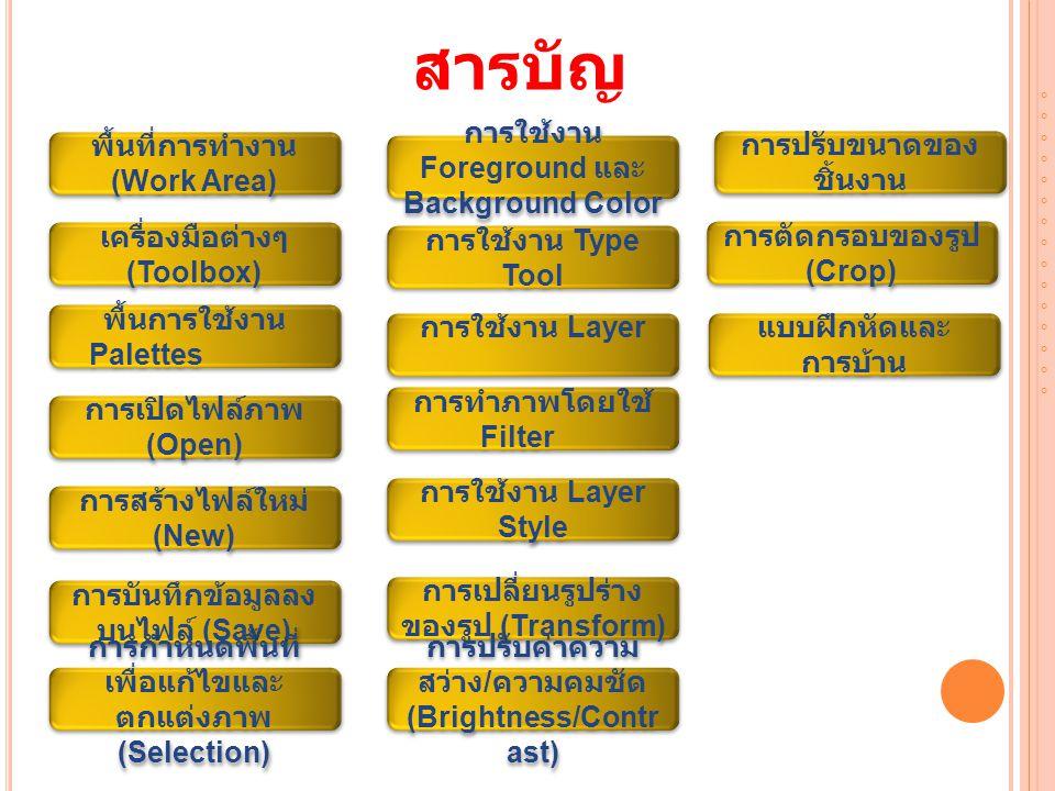 A DOBE P HOTOSHOP CS คือ อะไร Adobe Photoshop CS เป็นโปรแกรมคอมพิวเตอร์ที่ รวบรวมเครื่องมือสำหรับ ตกแต่งภาพประสิทธิภาพสูง เพื่อการทำงานระดับ มาตรฐานสำหรับนักออกแบบ มืออาชีพที่ต้องการ สร้างสรรค์งานกราฟิกที่โดด เด่น ทั้งงานที่ใช้บนเว็บและ งานสิ่งพิมพ์