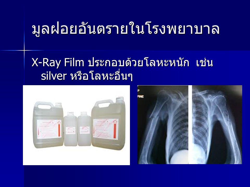 มูลฝอยอันตรายในโรงพยาบาล X-Ray Film ประกอบด้วยโลหะหนัก เช่น silver หรือโลหะอื่นๆ