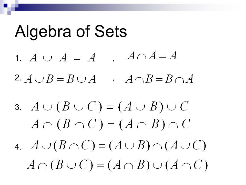 Algebra of Sets 1., 2., 3. 4.