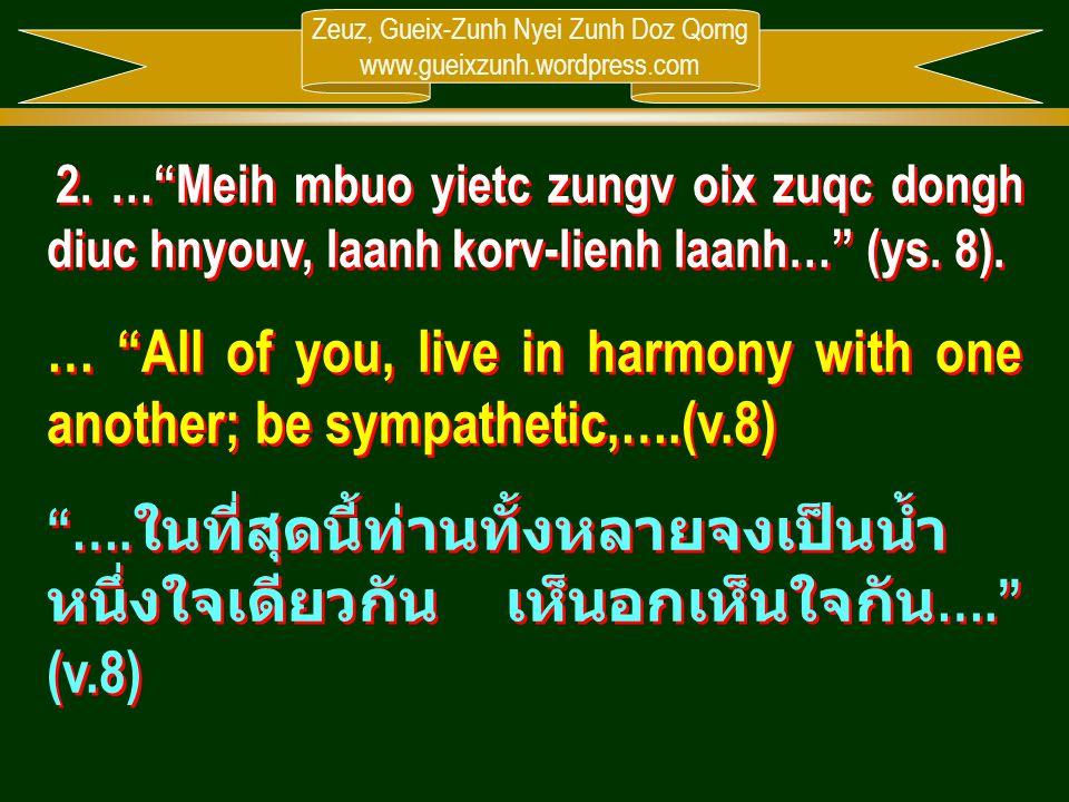 """Zeuz, Gueix-Zunh Nyei Zunh Doz Qorng www.gueixzunh.wordpress.com 2. …""""Meih mbuo yietc zungv oix zuqc dongh diuc hnyouv, laanh korv-lienh laanh…"""" (ys."""