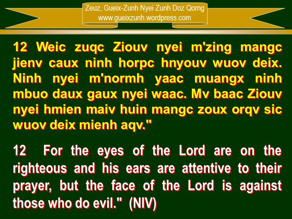 Zeuz, Gueix-Zunh Nyei Zunh Doz Qorng www.gueixzunh.wordpress.com 12 Weic zuqc Ziouv nyei m'zing mangc jienv caux ninh horpc hnyouv wuov deix. Ninh nye