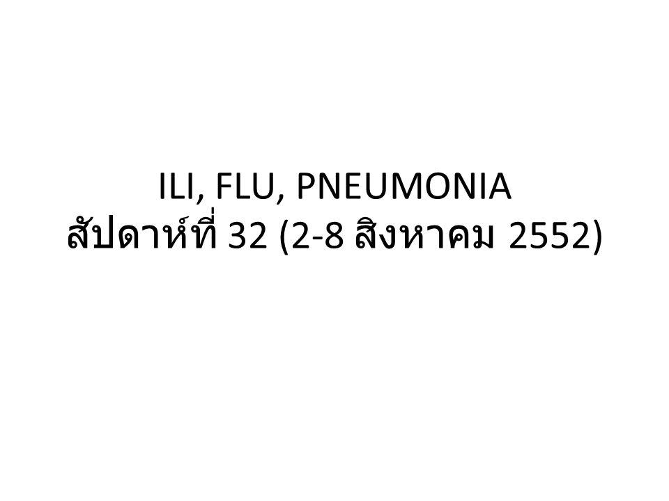 ILI, FLU, PNEUMONIA สัปดาห์ที่ 32 (2-8 สิงหาคม 2552)