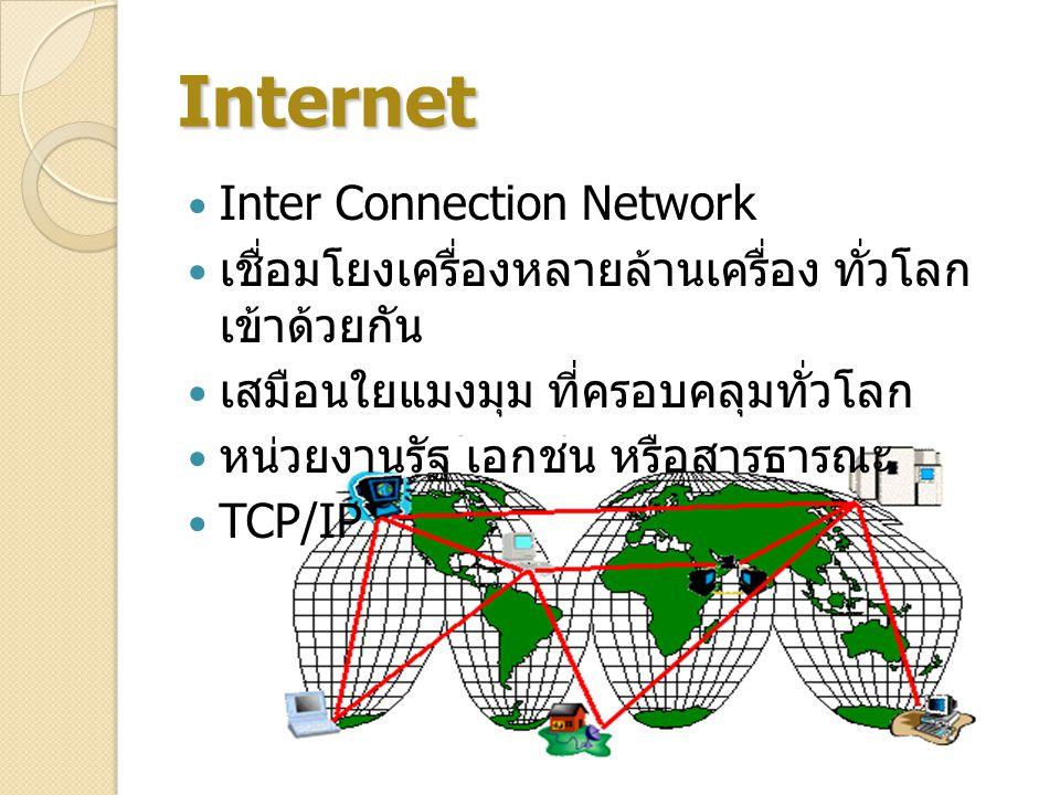 Internet Inter Connection Network เชื่อมโยงเครื่องหลายล้านเครื่อง ทั่วโลก เข้าด้วยกัน เสมือนใยแมงมุม ที่ครอบคลุมทั่วโลก หน่วยงานรัฐ เอกชน หรือสารธารณะ TCP/IP