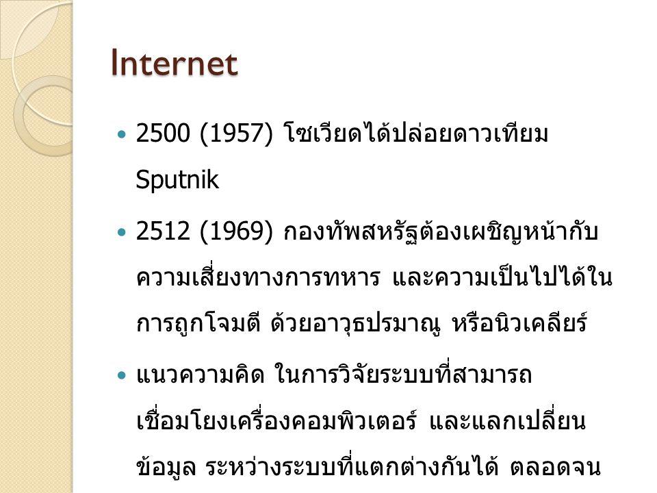 Internet 2500 (1957) โซเวียดได้ปล่อยดาวเทียม Sputnik 2512 (1969) กองทัพสหรัฐต้องเผชิญหน้ากับ ความเสี่ยงทางการทหาร และความเป็นไปได้ใน การถูกโจมตี ด้วยอาวุธปรมาณู หรือนิวเคลียร์ แนวความคิด ในการวิจัยระบบที่สามารถ เชื่อมโยงเครื่องคอมพิวเตอร์ และแลกเปลี่ยน ข้อมูล ระหว่างระบบที่แตกต่างกันได้ ตลอดจน สามารถรับส่งข้อมูลระหว่างกัน ได้อย่างไม่ ผิดพลาด กลาโหมอเมริกัน ARPA NET