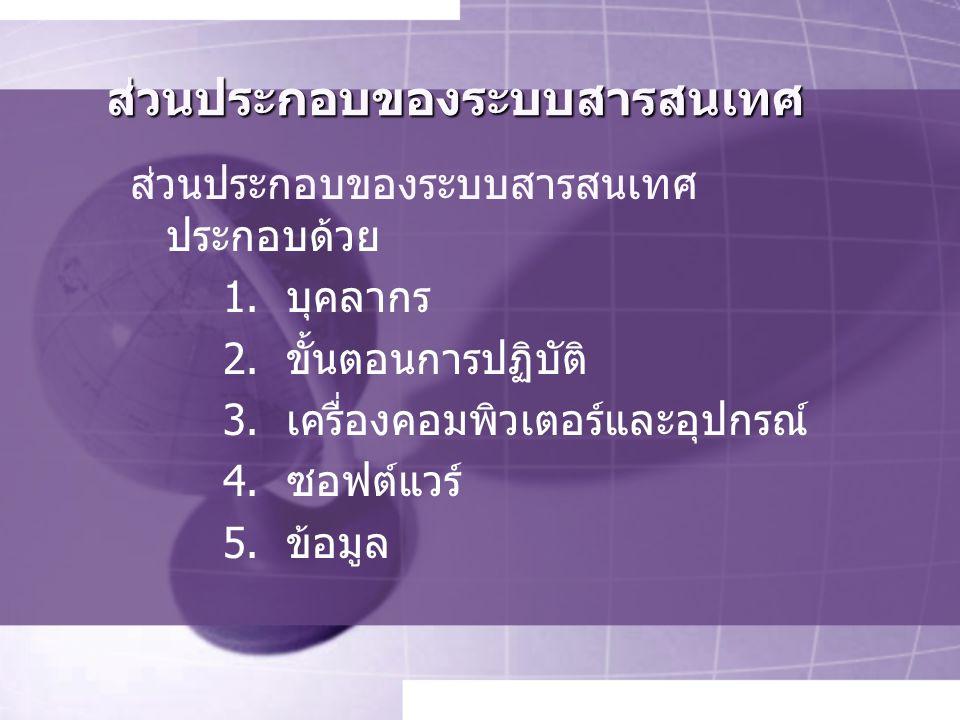 ส่วนประกอบของระบบสารสนเทศ ส่วนประกอบของระบบสารสนเทศ ประกอบด้วย 1.