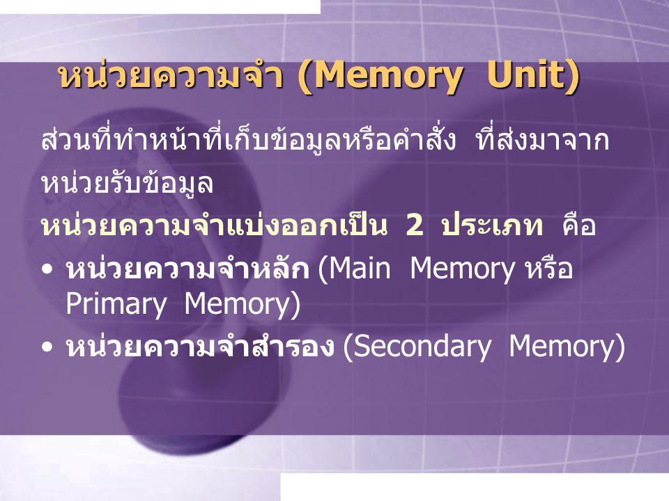 หน่วยความจำ (Memory Unit) ส่วนที่ทำหน้าที่เก็บข้อมูลหรือคำสั่ง ที่ส่งมาจาก หน่วยรับข้อมูล หน่วยความจำแบ่งออกเป็น 2 ประเภท คือ หน่วยความจำหลัก (Main Memory หรือ Primary Memory) หน่วยความจำสำรอง (Secondary Memory)