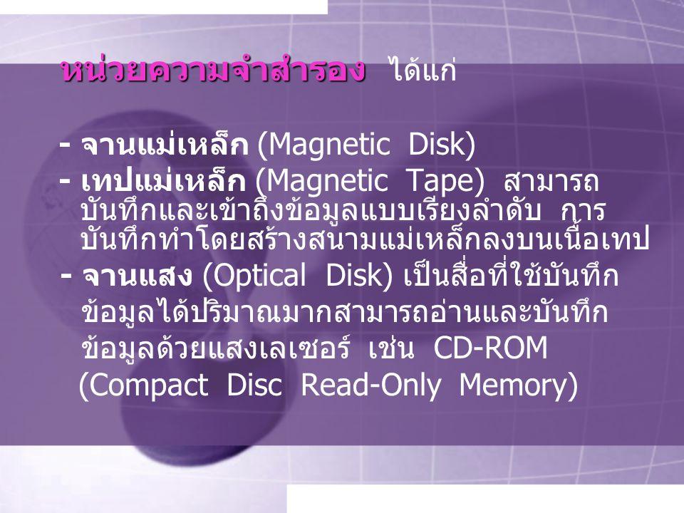 หน่วยความจำสำรอง หน่วยความจำสำรอง ได้แก่ - จานแม่เหล็ก (Magnetic Disk) - เทปแม่เหล็ก (Magnetic Tape) สามารถ บันทึกและเข้าถึงข้อมูลแบบเรียงลำดับ การ บันทึกทำโดยสร้างสนามแม่เหล็กลงบนเนื้อเทป - จานแสง (Optical Disk) เป็นสื่อที่ใช้บันทึก ข้อมูลได้ปริมาณมากสามารถอ่านและบันทึก ข้อมูลด้วยแสงเลเซอร์ เช่น CD-ROM (Compact Disc Read-Only Memory)