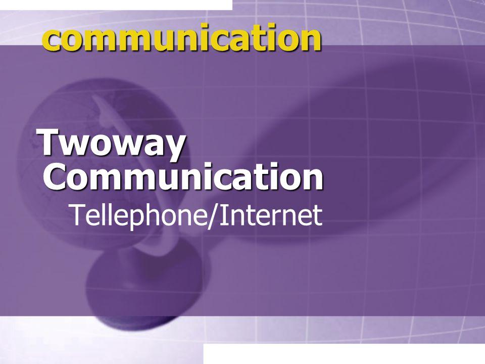 communication Twoway Communication Twoway Communication Tellephone/Internet