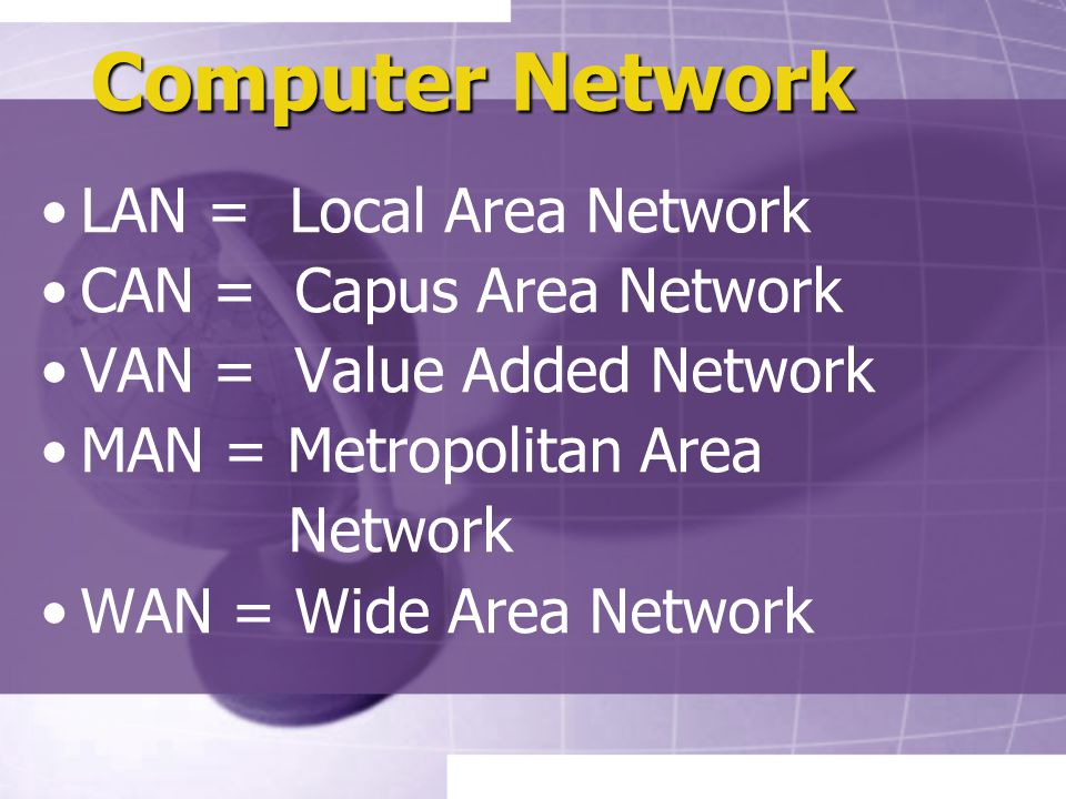 Computer Network LAN = Local Area Network CAN = Capus Area Network VAN = Value Added Network MAN = Metropolitan Area Network WAN = Wide Area Network