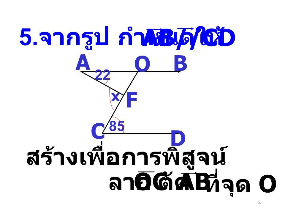 32 CF G D B E H A 48 (2x+2y) 0 (5y-8) 0 FEB ˆ = CFE ˆ ( เส้นตรงสองเส้น ขนานกันและมีเส้น ตัด แล้วมุมแย้งจะ มีขนาดเท่ากัน ) 48 + 32 = 2x + 2y 2x + 2y = 80 x + y = 40