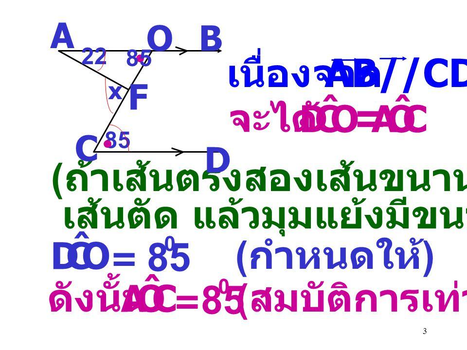 3 เนื่องจาก AB//CD จะได้ OCD ˆ COA ˆ = ( ถ้าเส้นตรงสองเส้นขนานกันและมี เส้นตัด แล้วมุมแย้งมีขนาดเท่ากัน ) 22 A B D C 85 x O F OCD ˆ = 0 ( กำหนดให้ ) ดังนั้น COA ˆ = 85 0 ( สมบัติการเท่ากัน ) 85