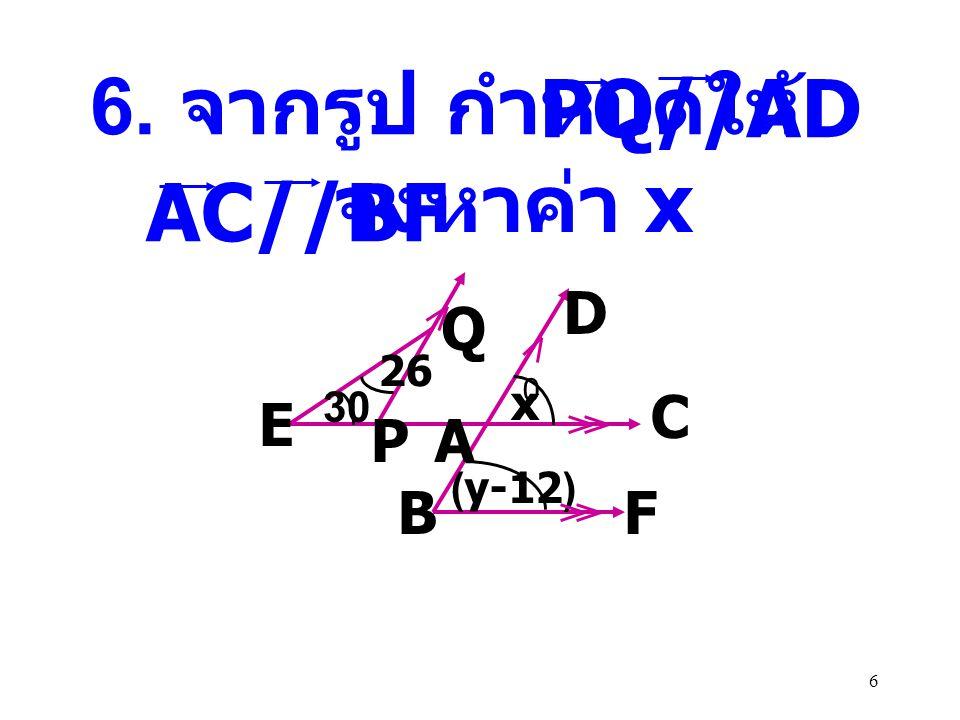 26 A B C D 100 0 X พิสูจน์ ADX ˆ = + 100 0 180 0 ADX ˆ = 80 0 ( ขนาดของมุมตรง ) XD ต่อ DC สร้าง DAB ˆ = ADX ˆ ( เส้นตรงสองเส้นขนานกันและมีเส้น ตัด แล้วมุมแย้งจะมีขนาดเท่ากัน ) (5x-y) 0 (5x+y) 0 (2x+y) 0 80
