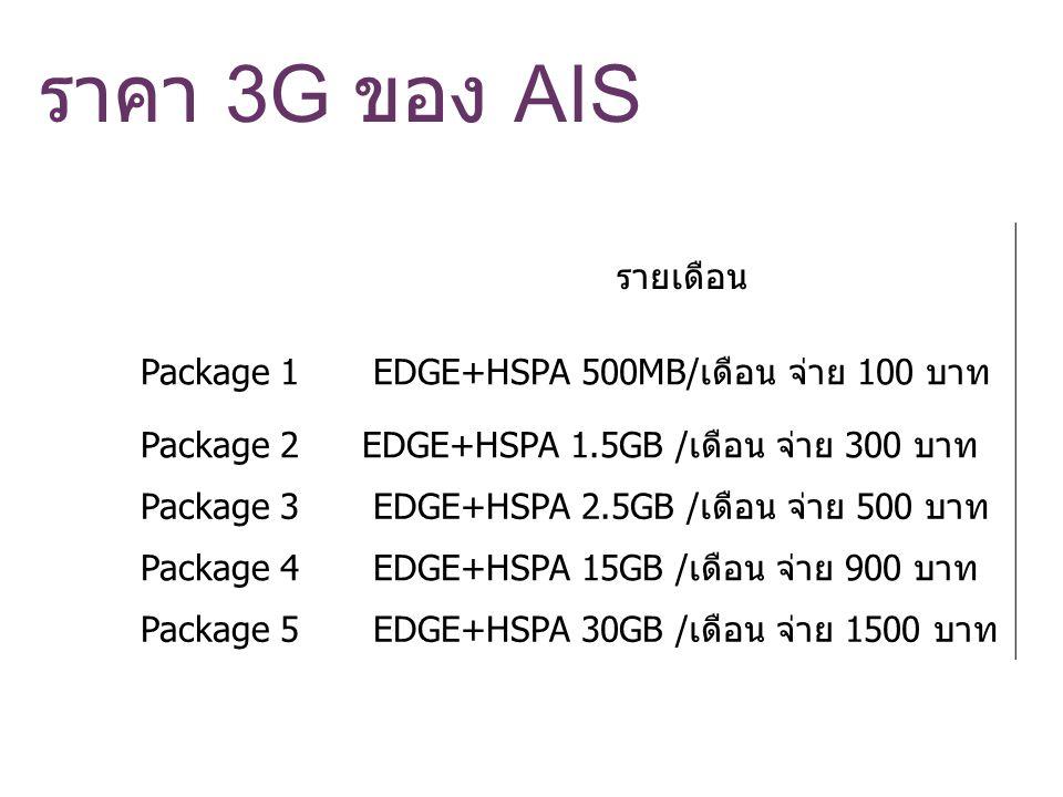 ราคา 3G ของ AIS รายเดือน Package 1 EDGE+HSPA 500MB/เดือน จ่าย 100 บาท Package 2 EDGE+HSPA 1.5GB /เดือน จ่าย 300 บาท Package 3 EDGE+HSPA 2.5GB /เดือน จ