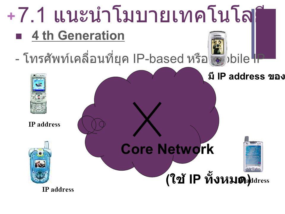 + 7.1 แนะนำโมบายเทคโนโลยี 4 th Generation - โทรศัพท์เคลื่อนที่ยุค IP-based หรือ Mobile IP ( ใช้ IP ทั้งหมด ) มี IP address ของตนเอง IP address Core Ne