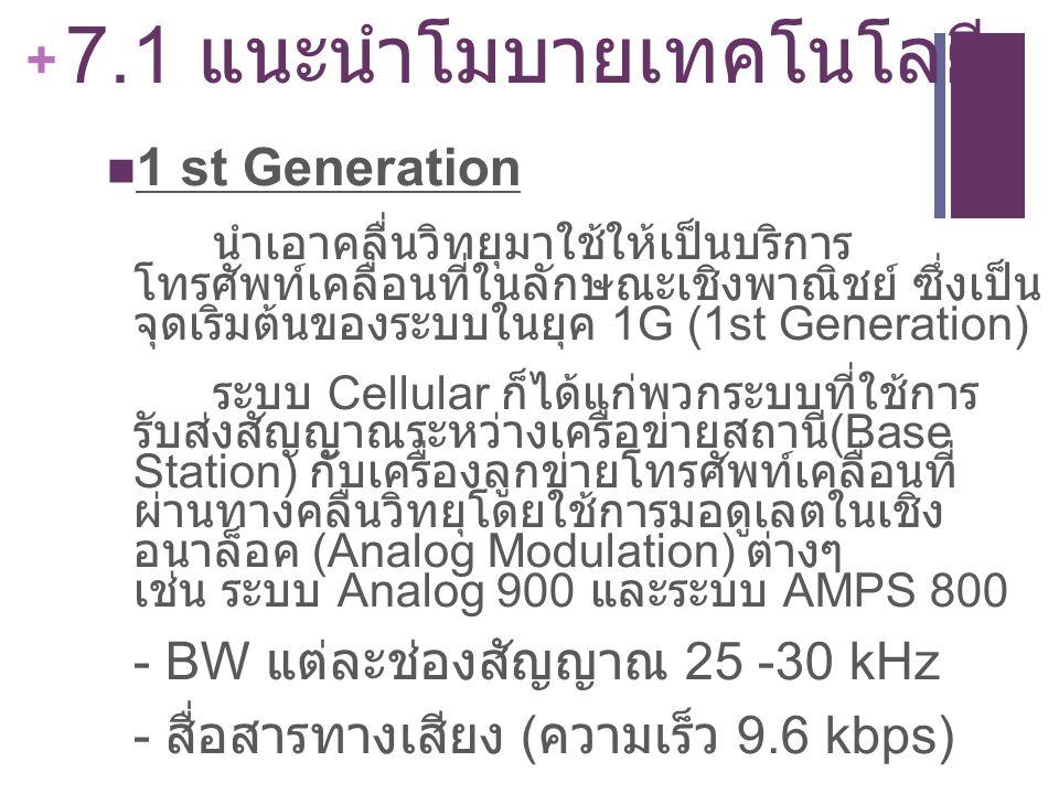 + 7.1 แนะนำโมบายเทคโนโลยี 1 st Generation นำเอาคลื่นวิทยุมาใช้ให้เป็นบริการ โทรศัพท์เคลื่อนที่ในลักษณะเชิงพาณิชย์ ซึ่งเป็น จุดเริ่มต้นของระบบในยุค 1G