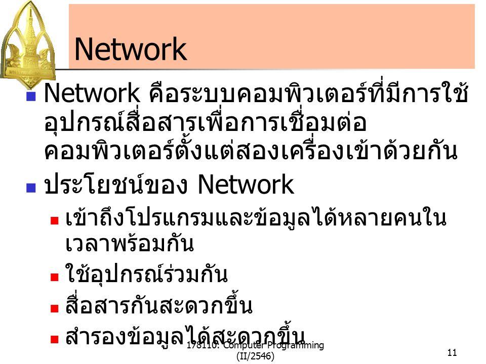 178110: Computer Programming (II/2546) 11 Network Network คือระบบคอมพิวเตอร์ที่มีการใช้ อุปกรณ์สื่อสารเพื่อการเชื่อมต่อ คอมพิวเตอร์ตั้งแต่สองเครื่องเข้าด้วยกัน ประโยชน์ของ Network เข้าถึงโปรแกรมและข้อมูลได้หลายคนใน เวลาพร้อมกัน ใช้อุปกรณ์ร่วมกัน สื่อสารกันสะดวกขึ้น สำรองข้อมูลได้สะดวกขึ้น