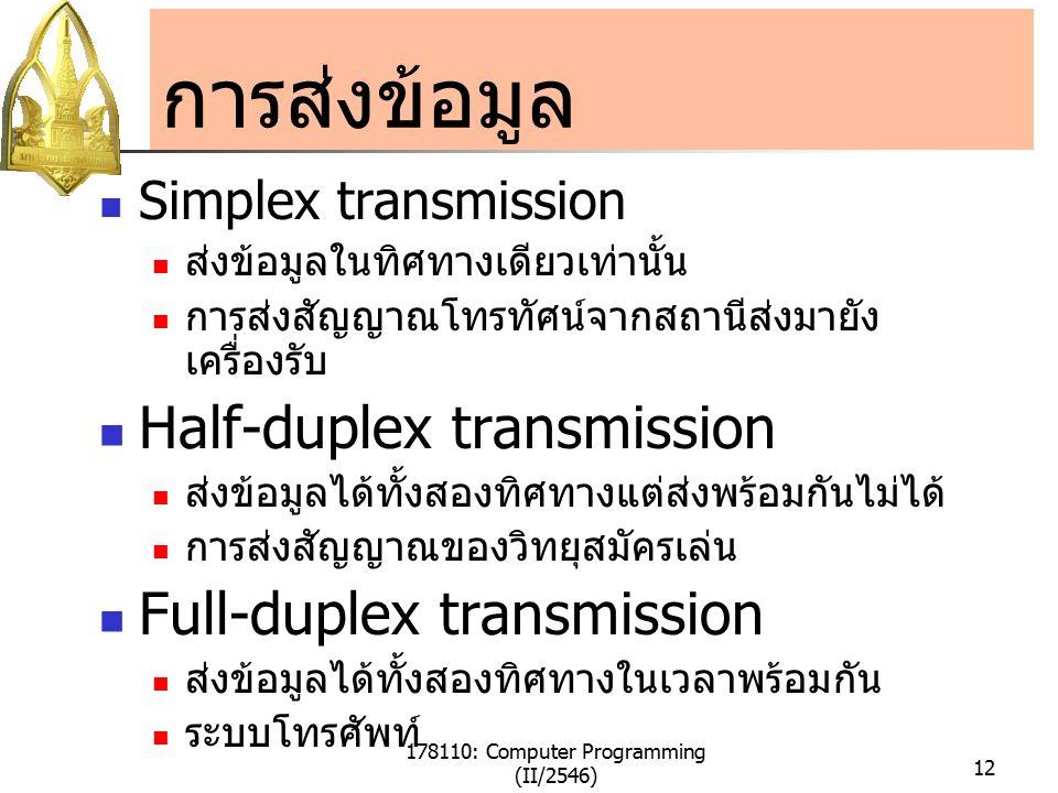 178110: Computer Programming (II/2546) 12 การส่งข้อมูล Simplex transmission ส่งข้อมูลในทิศทางเดียวเท่านั้น การส่งสัญญาณโทรทัศน์จากสถานีส่งมายัง เครื่องรับ Half-duplex transmission ส่งข้อมูลได้ทั้งสองทิศทางแต่ส่งพร้อมกันไม่ได้ การส่งสัญญาณของวิทยุสมัครเล่น Full-duplex transmission ส่งข้อมูลได้ทั้งสองทิศทางในเวลาพร้อมกัน ระบบโทรศัพท์