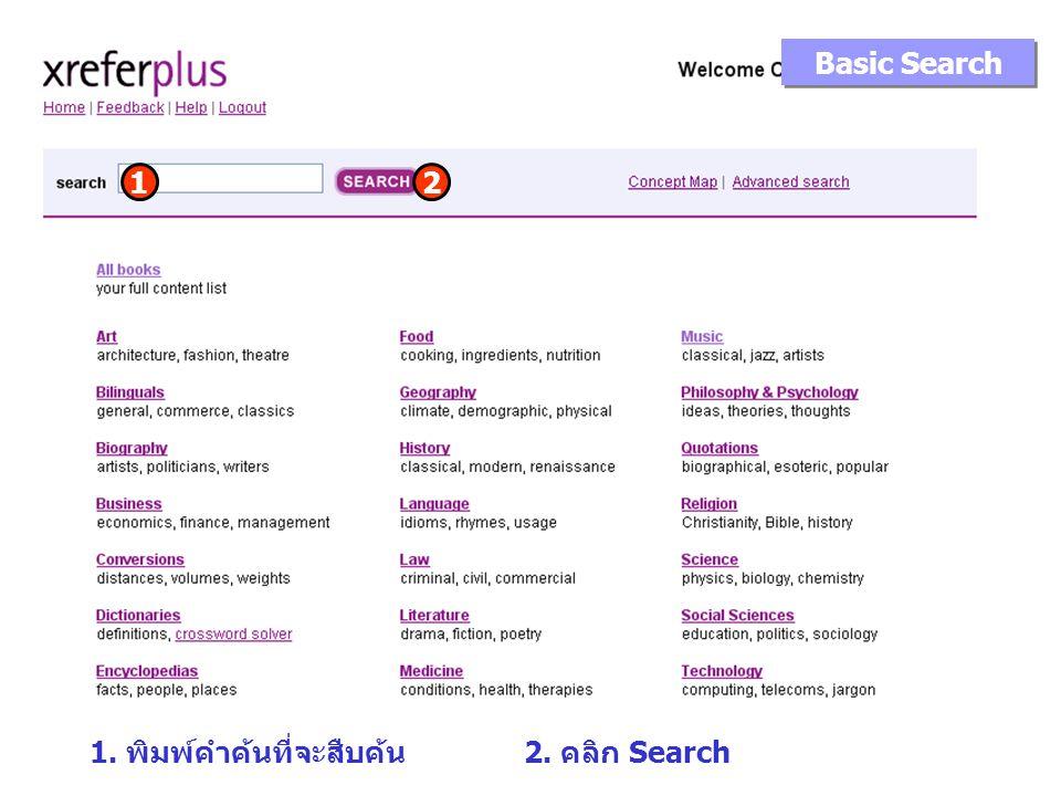 Basic Search 1. พิมพ์คำค้นที่จะสืบค้น 1 2. คลิก Search 2