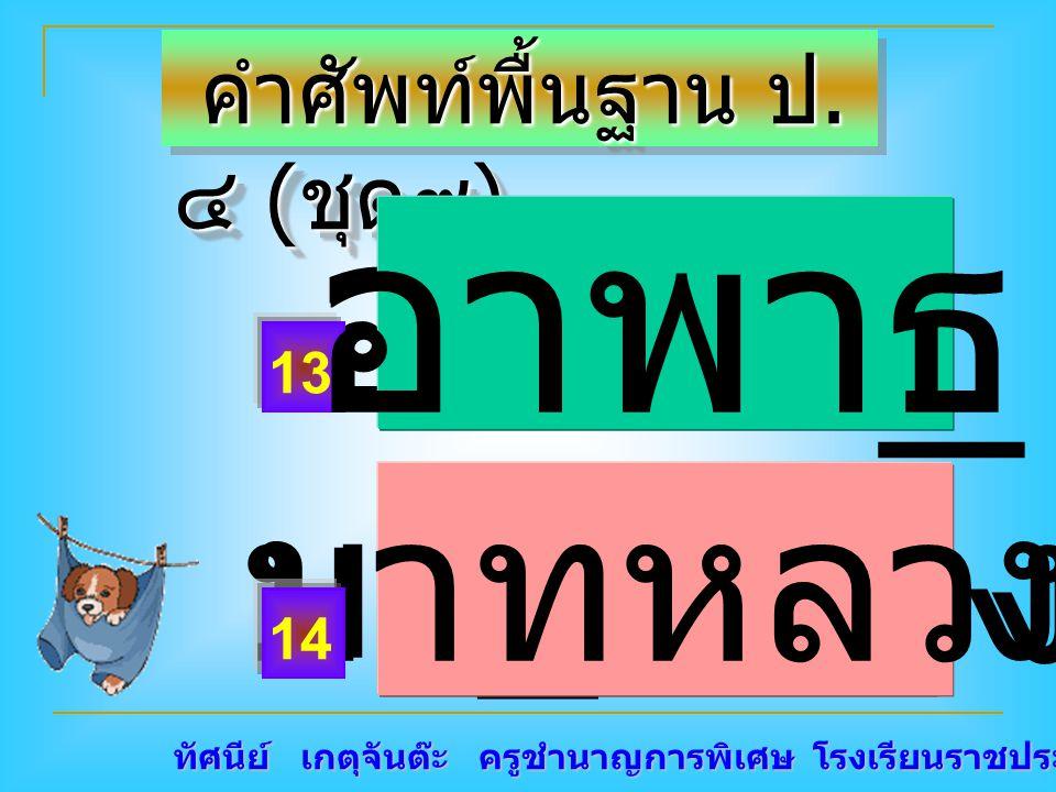 ทัศนีย์ เกตุจันต๊ะ ครูชำนาญการพิเศษ โรงเรียนราชประชานุเคราะห์ ๑๕ คำศัพท์พื้นฐาน ป. ๔ ( ชุด๙ ) คำศัพท์พื้นฐาน ป. ๔ ( ชุด๙ ) อาพา _ บา _ หลวงบาทหลวง 13