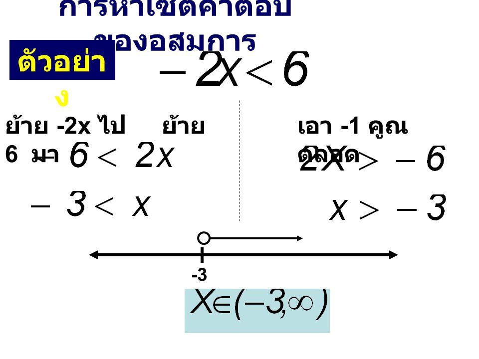 การหาเซตคำตอบ ของอสมการ ย้าย -2x ไป ย้าย 6 มา เอา -1 คูณ ตลอด -3 ตัวอย่า ง