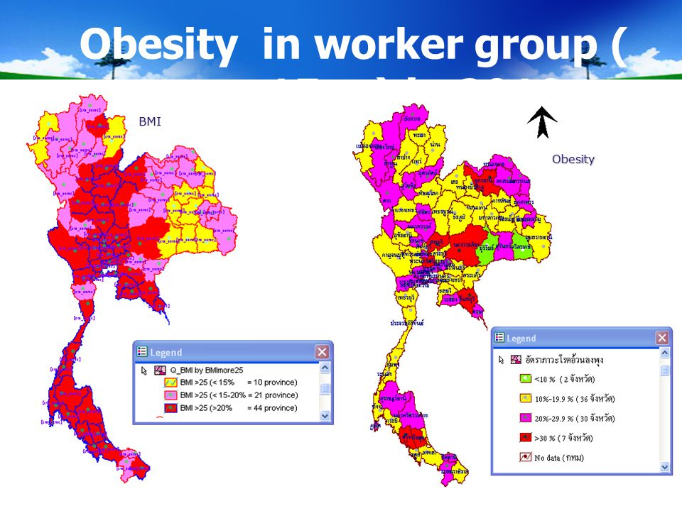 Obesity in worker group ( age >15 yr) in 2010 BMI Obesity