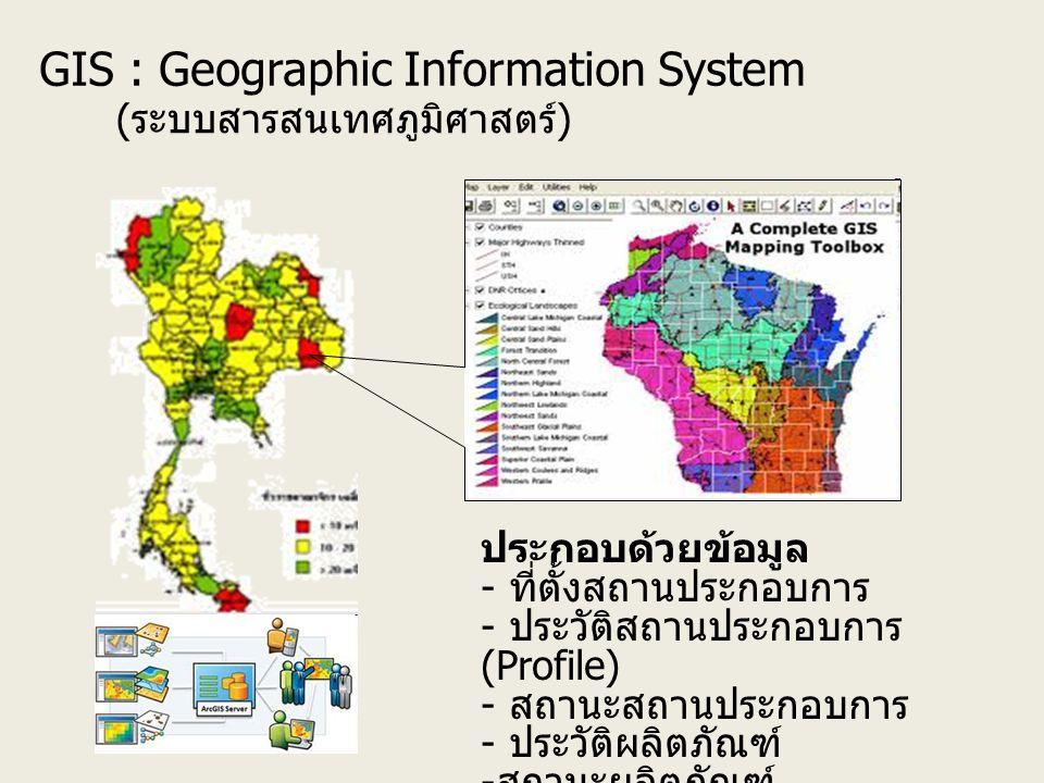 GIS : Geographic Information System ( ระบบสารสนเทศภูมิศาสตร์ ) ประกอบด้วยข้อมูล - ที่ตั้งสถานประกอบการ - ประวัติสถานประกอบการ (Profile) - สถานะสถานประกอบการ - ประวัติผลิตภัณฑ์ - สถานะผลิตภัณฑ์