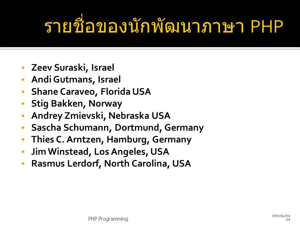  Zeev Suraski, Israel  Andi Gutmans, Israel  Shane Caraveo, Florida USA  Stig Bakken, Norway  Andrey Zmievski, Nebraska USA  Sascha Schumann, Do