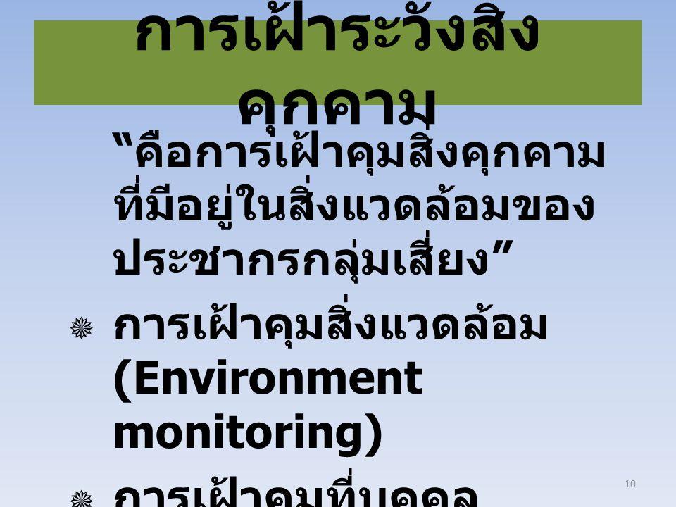 """การเฝ้าระวังสิ่ง คุกคาม """" คือการเฝ้าคุมสิ่งคุกคาม ที่มีอยู่ในสิ่งแวดล้อมของ ประชากรกลุ่มเสี่ยง """"  การเฝ้าคุมสิ่งแวดล้อม (Environment monitoring)  กา"""