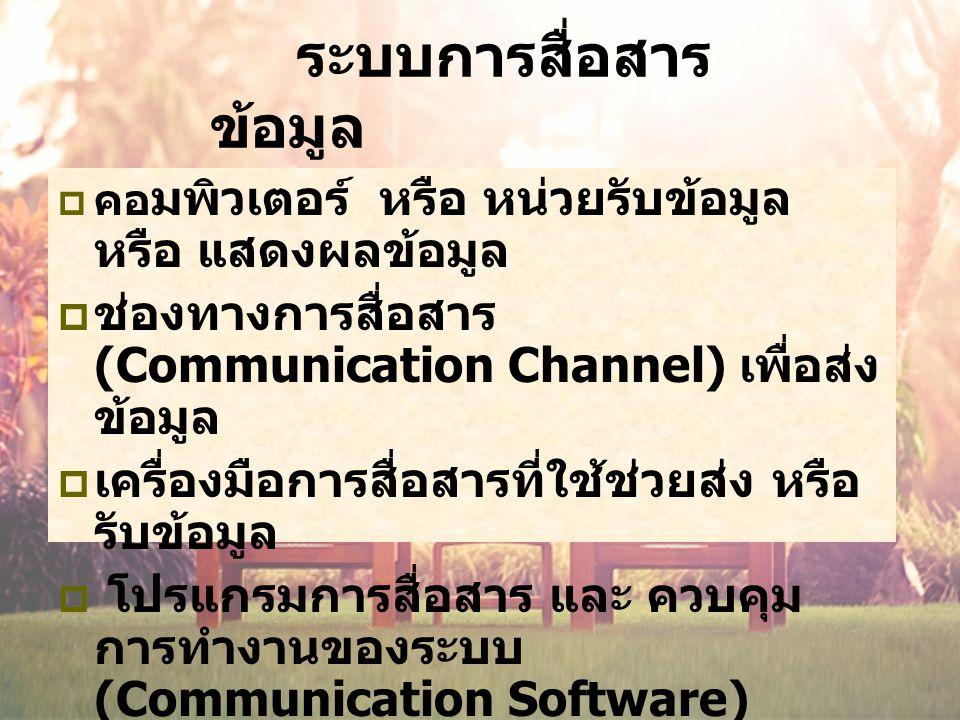 ระบบการสื่อสาร ข้อมูล  คอ มพิวเตอร์ หรือ หน่วยรับข้อมูล หรือ แสดงผลข้อมูล  ช่องทางการสื่อสาร (Communication Channel) เพื่อส่ง ข้อมูล  เครื่องมือการสื่อสารที่ใช้ช่วยส่ง หรือ รับข้อมูล  โปรแกรมการสื่อสาร และ ควบคุม การทำงานของระบบ (Communication Software)
