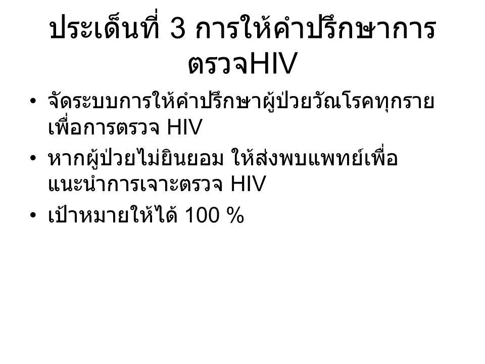 ประเด็นที่ 3 การให้คำปรึกษาการ ตรวจ HIV จัดระบบการให้คำปรึกษาผู้ป่วยวัณโรคทุกราย เพื่อการตรวจ HIV หากผู้ป่วยไม่ยินยอม ให้ส่งพบแพทย์เพื่อ แนะนำการเจาะต