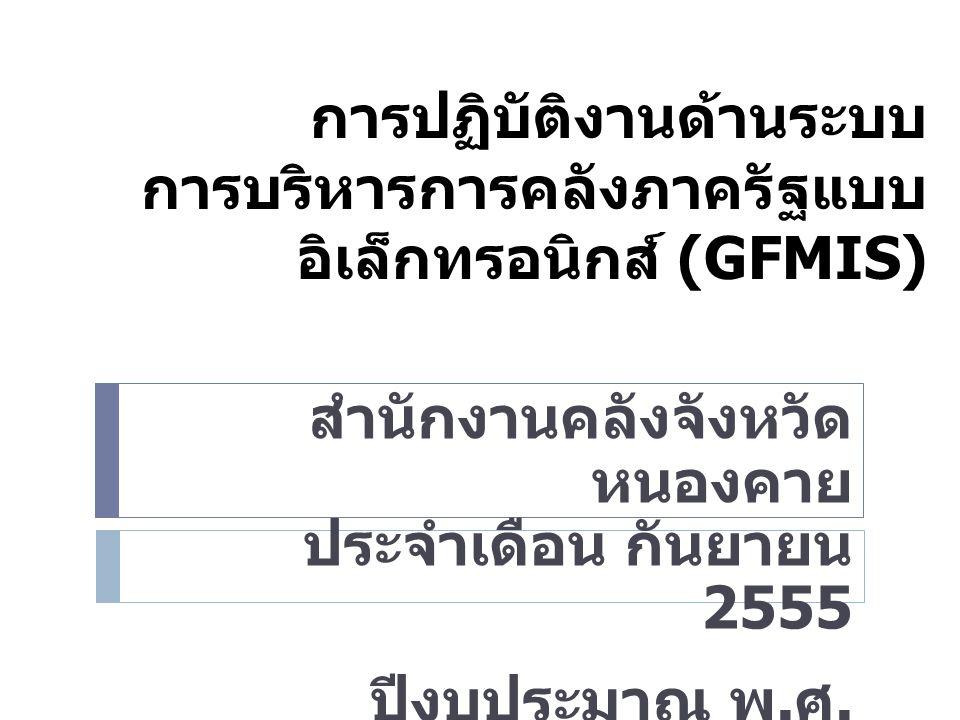 การปฏิบัติงานด้านระบบ การบริหารการคลังภาครัฐแบบ อิเล็กทรอนิกส์ (GFMIS) สำนักงานคลังจังหวัด หนองคาย ประจำเดือน กันยายน 2555 ปีงบประมาณ พ.