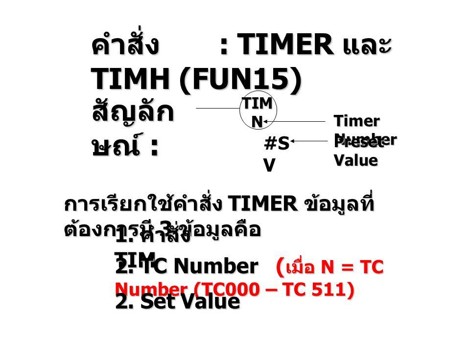 คำสั่ง : TIMER และ TIMH (FUN15) สัญลัก ษณ์ : TIMN #S V Timer Number Preset Value การเรียกใช้คำสั่ง TIMER ข้อมูลที่ ต้องการมี 3 ข้อมูลคือ 1.
