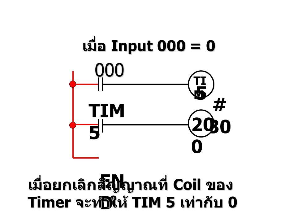 เมื่อ Input 000 = 0 000 TI M 5 # 30 TIM 5 20 0 EN D เมื่อยกเลิกสัญญาณที่ Coil ของ Timer จะทำให้ TIM 5 เท่ากับ 0