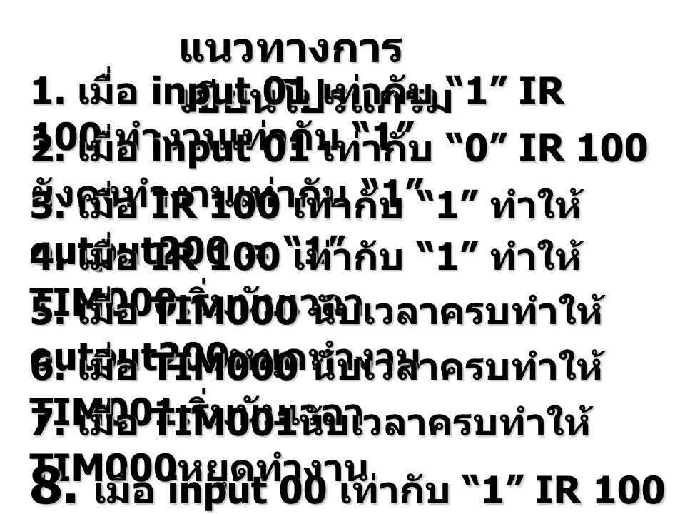 แนวทางการ เขียนโปรแกรม 1.เมื่อ input 01 เท่ากับ 1 IR 100 ทำงานเท่ากับ 1 2.