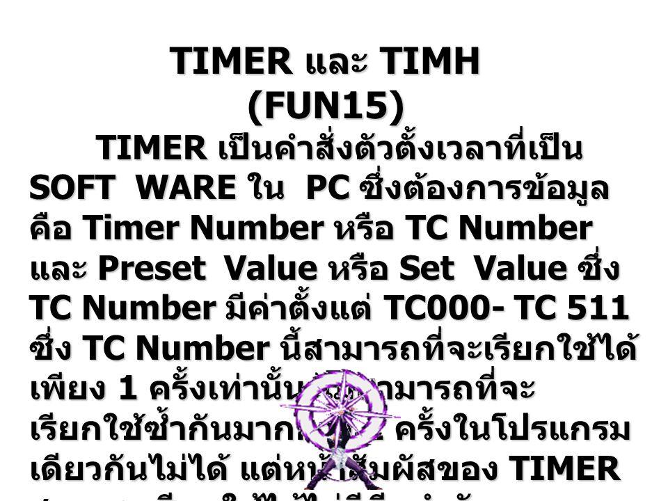 การทำงาน : เมื่อให้สภาวะแก่อินพุท หมายเลข 01 จะมีสัญญาณเข้าที่ COIL ของ TIM 0 จะทำให้ TIM 0 เริ่มนับ เวลาจากค่า SV ลงสู่ค่า PV ( ซึ่งได้ทำ การตั้งไว้ที่ 5 วินาที ) เมื่อ TIM 0 นับ ครบ 5 วินาทีจะทำให้ TIM 0 ทำงาน ทำ ให้หน้าสัมผัสของ TIM 5 ก็จะเปลี่ยน เมื่อหน้าสัมผัสของ TIM 0 เปลี่ยนก็จะ ส่งผลให้มีสัญญาณเข้าไปที่ COIL ของ รีเลย์ภายใน หมายเลข 600 ส่งผล ทำให้ 600 ทำงาน เมื่อยกเลิกสภาวะกับอินพุท หมายเลข 01 ( ให้ 0 ) ก็จะมีสัญญาณ เข้าที่ COIL ของ TIM 1 TIM 1 ก็จะเริ่ม นับเวลาลงสู่ค่าปัจจุบัน เมื่อ TIM5 นับ ครบ 3 วินาที ก็จะส่งผลให้รีเลย์ภายใน หมายเลข 600 หยุดทำงาน เมื่อยกเลิกสภาวะกับอินพุท หมายเลข 01 ( ให้ 0 ) ก็จะมีสัญญาณ เข้าที่ COIL ของ TIM 1 TIM 1 ก็จะเริ่ม นับเวลาลงสู่ค่าปัจจุบัน เมื่อ TIM5 นับ ครบ 3 วินาที ก็จะส่งผลให้รีเลย์ภายใน หมายเลข 600 หยุดทำงาน