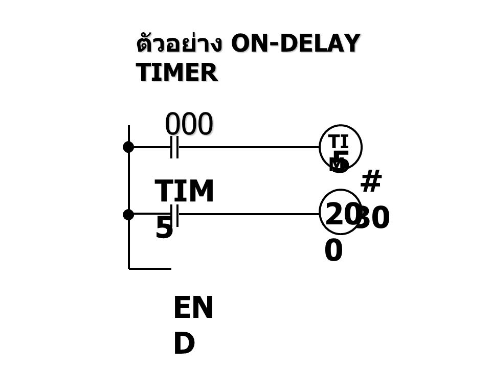 ตัวอย่าง ON-DELAY TIMER 000 TI M 5 # 30 TIM 5 20 0 EN D