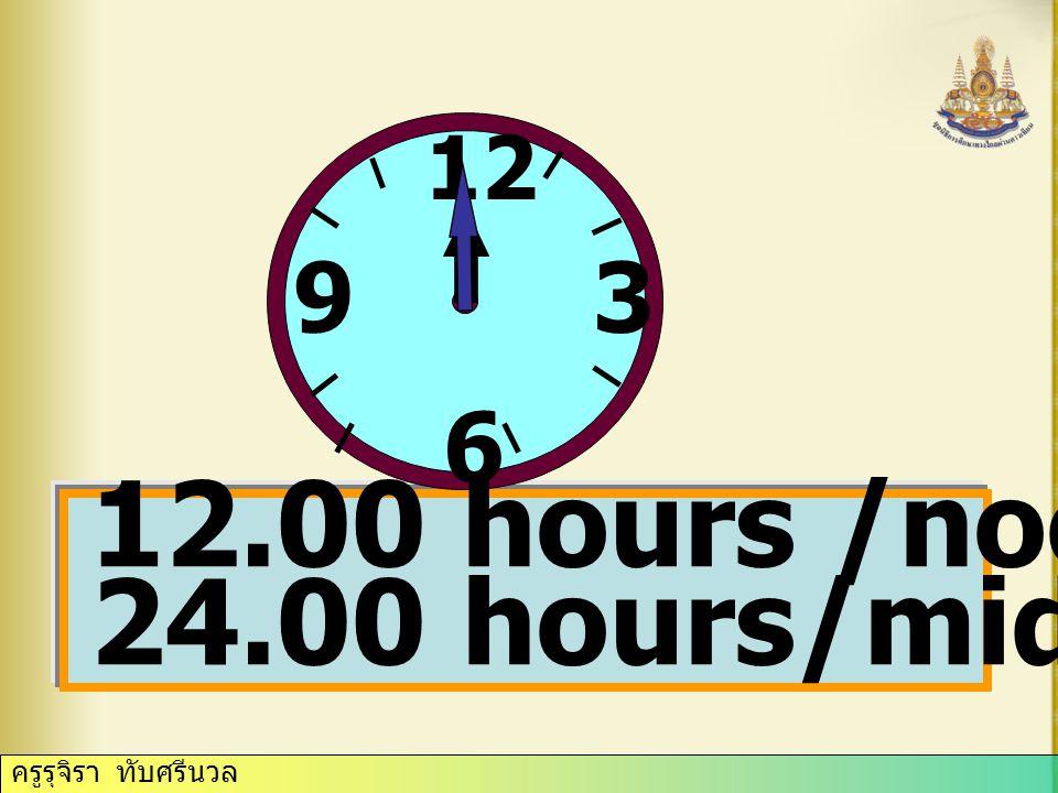 ครูรุจิรา ทับศรีนวล 12 3 6 9 seven o'clock / seven a.m. /p.m.