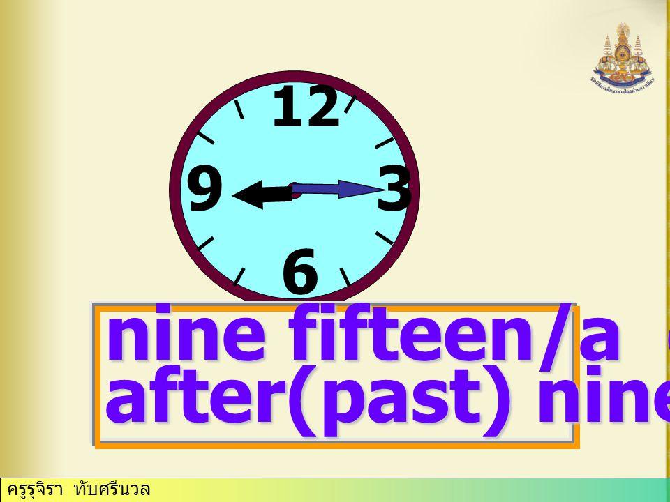 12 3 6 9 nine fifteen/a quarter after(past) nine