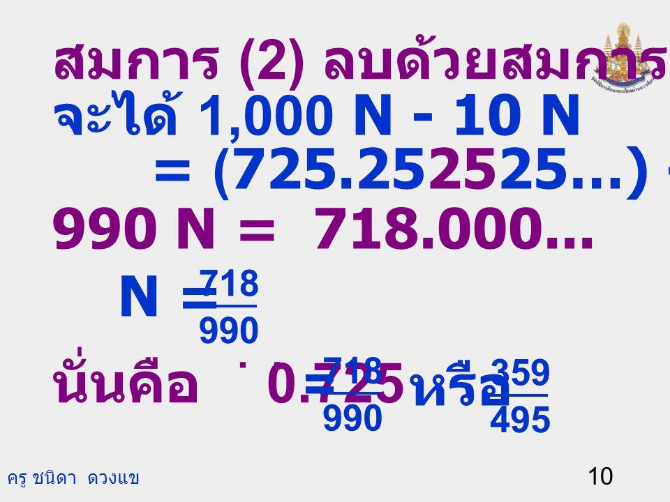 ครู ชนิดา ดวงแข 9 ตัวอย่างที่ 3 จงเขียน 0.725 ให้อยู่ในรูป เศษส่วน. วิธีทำ ให้ N = 0.725. ดังนั้น N = 0.7252525… (1) คูณสมการ (1) ด้วย 1,000 จะได้ 1,0