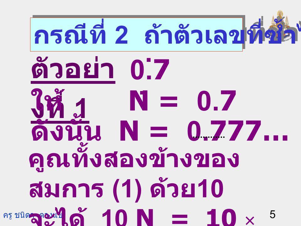 ครู ชนิดา ดวงแข 5 ตัวอย่า งที่ 1 กรณีที่ 2 ถ้าตัวเลขที่ซ้ำไม่ใช่ 0.