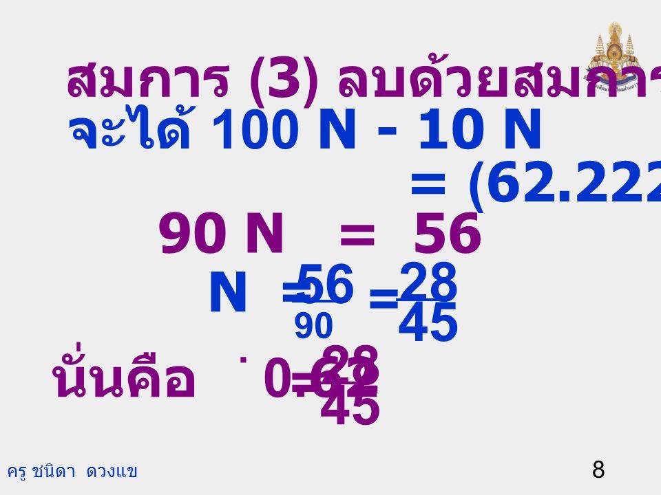 ครู ชนิดา ดวงแข 7 ตัวอย่างที่ 2 จงเขียน 0.62 ให้อยู่ในรูป เศษส่วน. วิธีทำ ให้ N = 0.62. ดังนั้น N = 0.6222… (1) คูณสมการ (1) ด้วย 10 จะได้ 10 N = 6.22