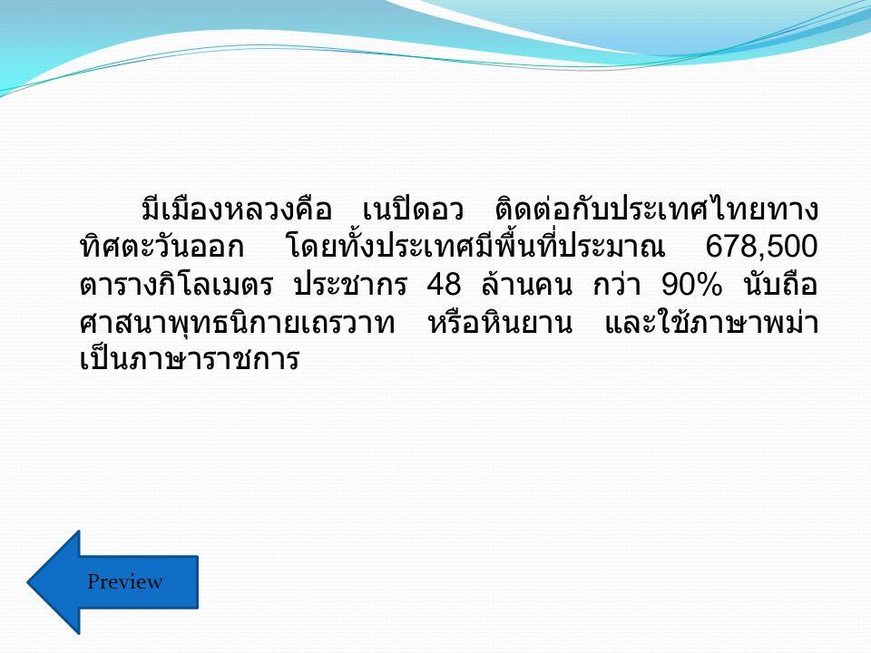 มีเมืองหลวงคือ เนปิดอว ติดต่อกับประเทศไทยทาง ทิศตะวันออก โดยทั้งประเทศมีพื้นที่ประมาณ 678,500 ตารางกิโลเมตร ประชากร 48 ล้านคน กว่า 90% นับถือ ศาสนาพุทธนิกายเถรวาท หรือหินยาน และใช้ภาษาพม่า เป็นภาษาราชการ Preview