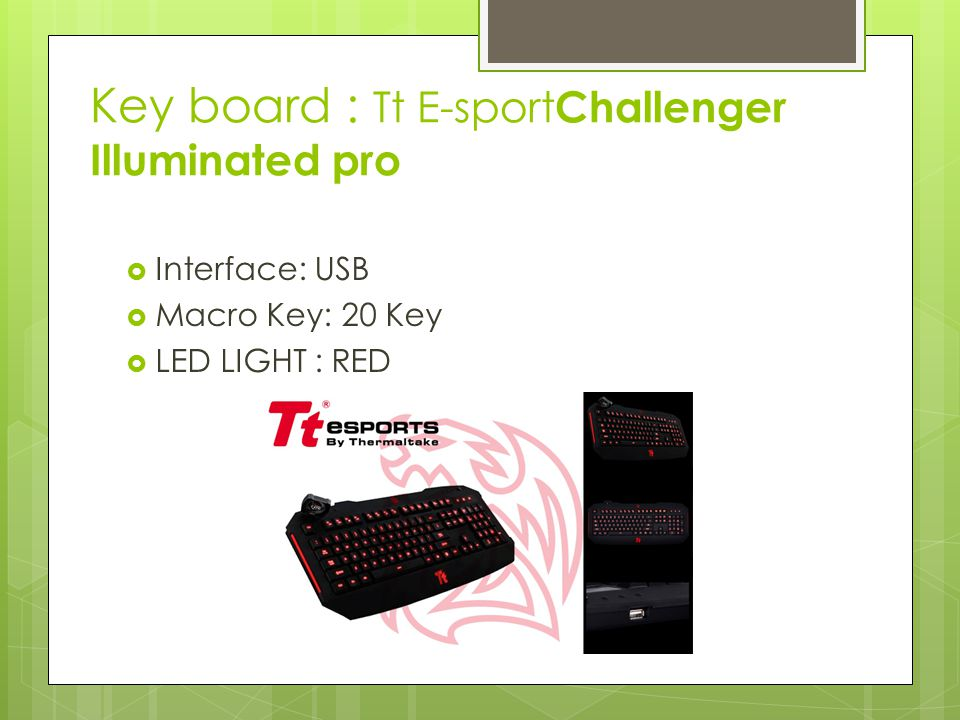 Key board : Tt E-sport Challenger Illuminated pro  Interface: USB  Macro Key: 20 Key  LED LIGHT : RED