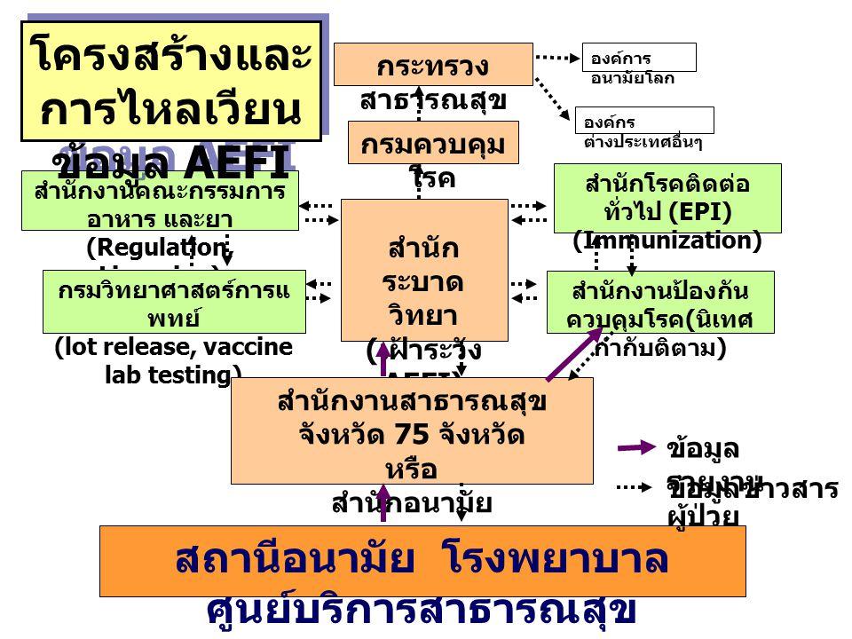 กระทรวง สาธารณสุข องค์การ อนามัยโลก องค์กร ต่างประเทศอื่นๆ กรมควบคุม โรค สำนัก ระบาด วิทยา ( เฝ้าระวัง AEFI) สำนักโรคติดต่อ ทั่วไป (EPI) (Immunization) สำนักงานป้องกัน ควบคุมโรค ( นิเทศ กำกับติตาม ) สำนักงานคณะกรรมการ อาหาร และยา (Regulation, Licencing) กรมวิทยาศาสตร์การแ พทย์ (lot release, vaccine lab testing) สำนักงานสาธารณสุข จังหวัด 75 จังหวัด หรือ สำนักอนามัย กรุงเทพมหานคร สถานีอนามัย โรงพยาบาล ศูนย์บริการสาธารณสุข โครงสร้างและ การไหลเวียน ข้อมูล AEFI ข้อมูล รายงาน ผู้ป่วย ข้อมูลข่าวสาร