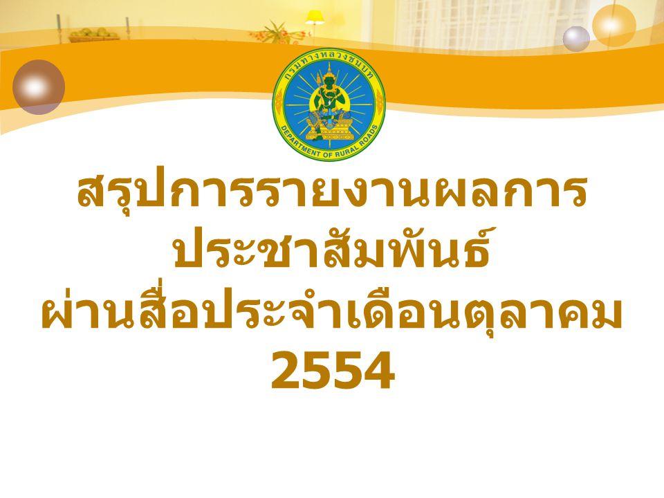 สรุปการรายงานผลการ ประชาสัมพันธ์ ผ่านสื่อประจำเดือนตุลาคม 2554