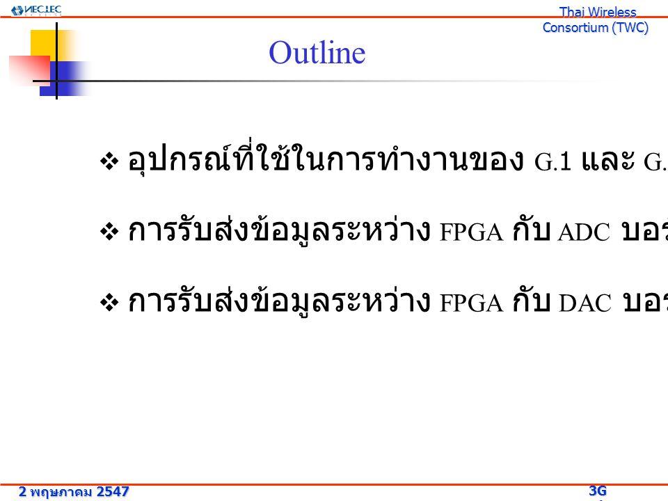 อุปกรณ์ที่ใช้ในการทำงานของ Group 1 THS0842 EVM (ADC Board) DAC2902 EVM (DAC Board) THS0842 (Dual ADC, 8-bit) Six SMB Connector DAC29002 (dual DAC,12 bits) Two SMA Connector (Support Up to 6) 2 พฤษภาคม 2547 3G Research Project 3G Research Project Thai Wireless Consortium (TWC) Thai Wireless Consortium (TWC)