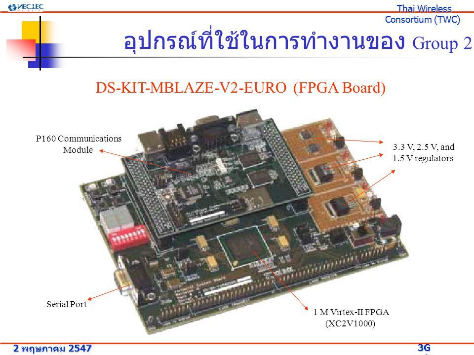 อุปกรณ์ที่ใช้ในการทำงานของ Group 2 DS-KIT-MBLAZE-V2-EURO (FPGA Board) 1 M Virtex-II FPGA (XC2V1000) P160 Communications Module 3.3 V, 2.5 V, and 1.5 V