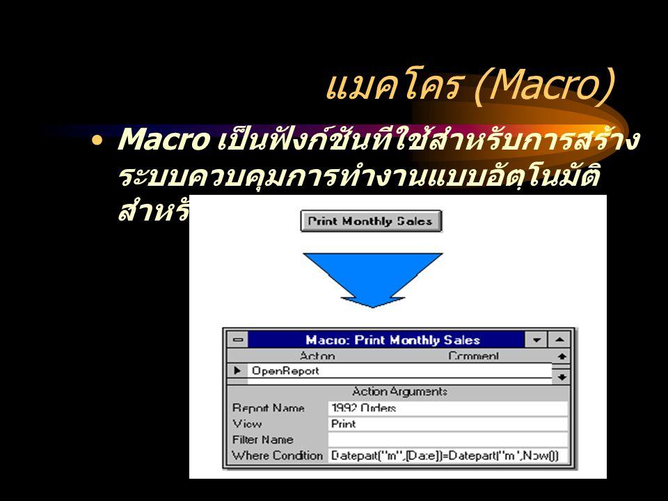 แมคโคร (Macro) Macro เป็นฟังก์ชันทีใช้สำหรับการสร้าง ระบบควบคุมการทำงานแบบอัตฺโนมัติ สำหรับงานระดับโปรแกรม