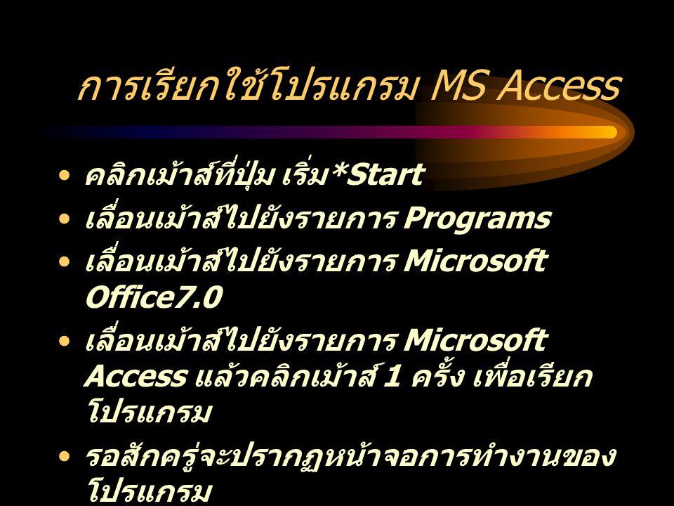 การเรียกใช้โปรแกรม MS Access คลิกเม้าส์ที่ปุ่ม เริ่ม *Start เลื่อนเม้าส์ไปยังรายการ Programs เลื่อนเม้าส์ไปยังรายการ Microsoft Office7.0 เลื่อนเม้าส์ไปยังรายการ Microsoft Access แล้วคลิกเม้าส์ 1 ครั้ง เพื่อเรียก โปรแกรม รอสักครู่จะปรากฏหน้าจอการทำงานของ โปรแกรม เลือกการทำงานที่ต้องการ