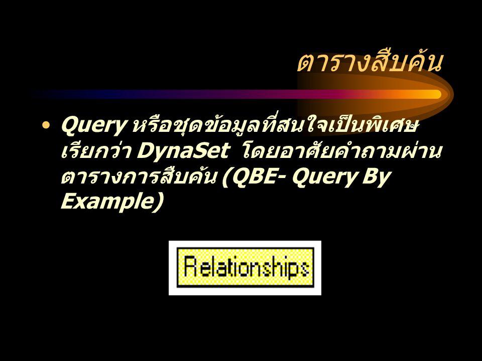 ตารางสืบค้น Query หรือชุดข้อมูลที่สนใจเป็นพิเศษ เรียกว่า DynaSet โดยอาศัยคำถามผ่าน ตารางการสืบค้น (QBE- Query By Example)
